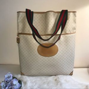 GUCCI Vintage Tote Bag GG Coated Canvas Leather